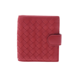 Bottega Veneta Compact Wallet Intorechat Red Ladies Lambskin A rank 美 品 BOTTEGA VENETA Used Ginza