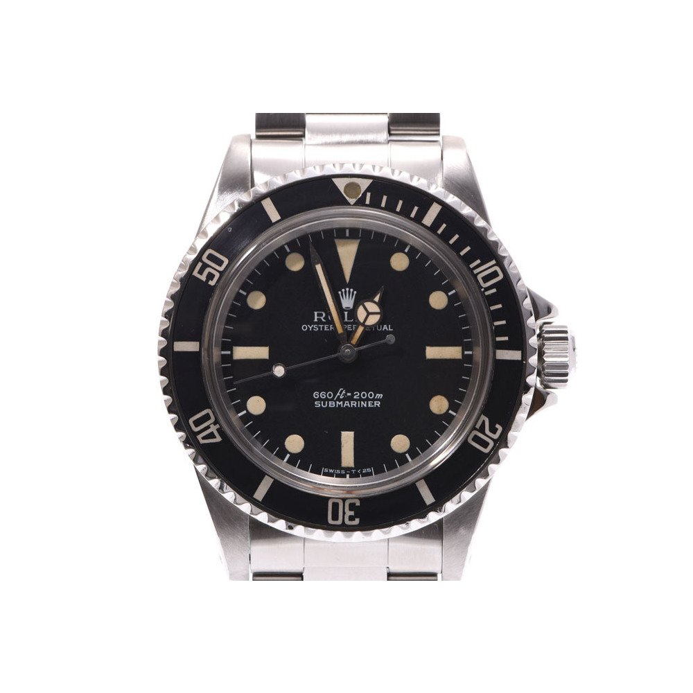 ROLEX Submariner black lettering board 5513 Men's SS automatic winding wristwatch Antique A rank second hand silver storage