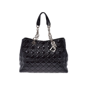 Dior Canard Chain Tote Bag Black SV Bracket Women's Enamel B Rank CHRISTIAN DIOR Used Ginza