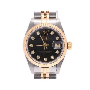 Rolex Datejust 10P diamond black letter board 69173G L Ladies YG / SS automatic winding watch A rank beautiful goods ROLEX inner box gala second hand silver storage