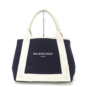 Balenciaga BALENCIAGA navy hippopotamus cotton canvas leather white 339933 tote bag as good new
