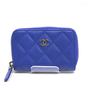 766a3e0ea0488f CHANEL Chanel Matrasse round fastener Coin case A69271 Lambskin 22nd Blue  as good new