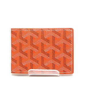GOYARD Goyar Folded Card Case Orange Herringbone Pattern as New