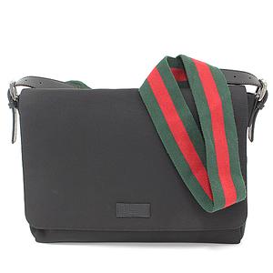 Gucci GUCCI techno canvas messenger bag diagonal shoulder leather black 337073 webbing line