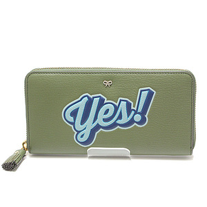 Anya Hindmarch Round Fastener Long Purse Yes! No Design Green Like New