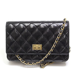 CANEL Chanel 2.55 Chain wallet Black patent leather 20 series Unused item