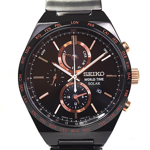 SEIKO Seiko Men's Watch Spirit World Time SBPJ 039 Solar Black (Black) Dial Similar as New