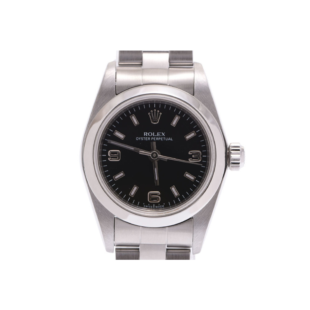 ROLEX Perpetual Black letter board 76080 A Womens SS automatic winding wristwatch rank 美 品 second hand silver store