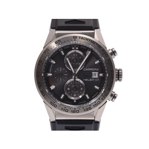 TAG Heuer Carrera Chrono Gray Dial CAR 208 Z Men's Titanium / Rubber Back Scale Automatic Watch A Rank beautiful item Box Gala Used Ginza