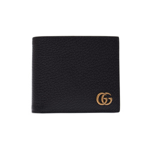 Gucci GG Mermont two fold wallet black men's ladies calf unused GUCCI second hand silver storage