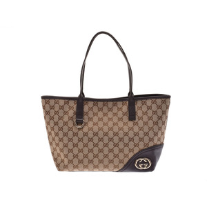 Gucci tote bag beige type / dark brown ladies' GG canvas leather AB rank GUCCI second hand silver storage