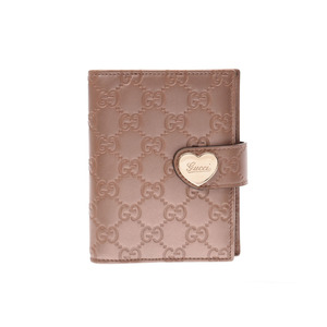 Gucci Shima notebook cover pink metallic ladies' leather AB rank GUCCI second hand silver storage