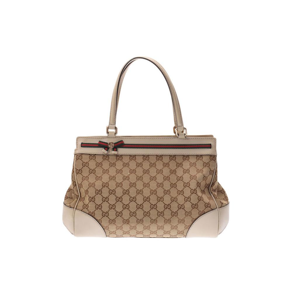 Gucci Mayfair handbags beige ladies GG canvas / leather AB rank GUCCI second hand silver storage