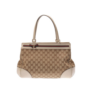Gucci Mayfair handbags beige ladies GG canvas / leather AB rank GUCCI second hand silver storage