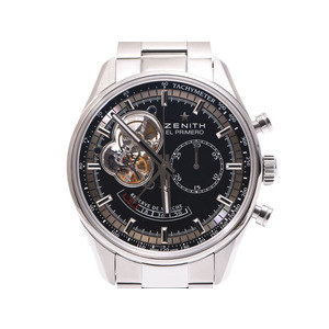 Zenith chrono master open power reserve black letter board 03.2080.4021 men's SS automatic winding wristwatch A rank beautiful goods ZENITH used silver storage