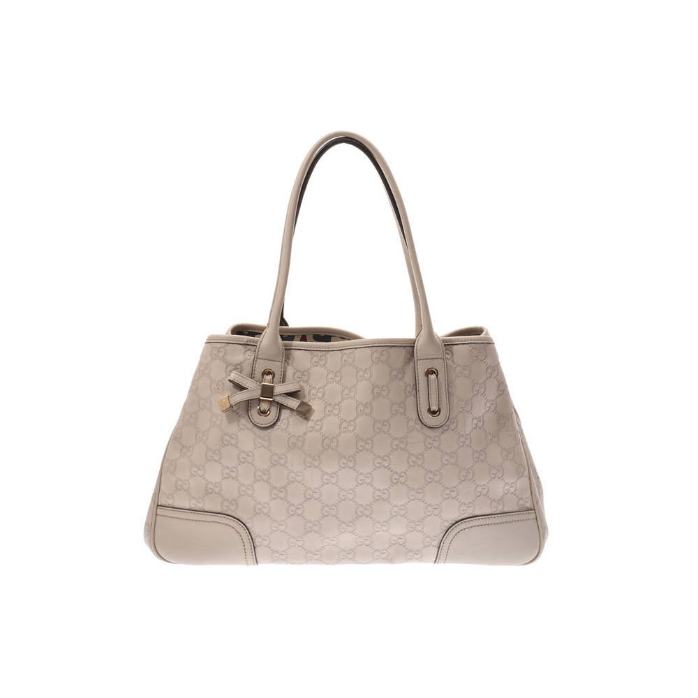 Gucci Shima Tote Bag Princie GG Pattern Ivory Gray Ladies Leather B Rank GUCCI Used Ginza