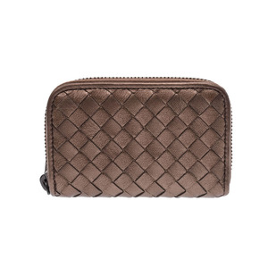 Bottega Veneta Coin Case Intrecciato Metallic Gold Series Men's Women's Lambskin Purifier New Beauty Item BOTTEGA VENETA Box Used Ginza