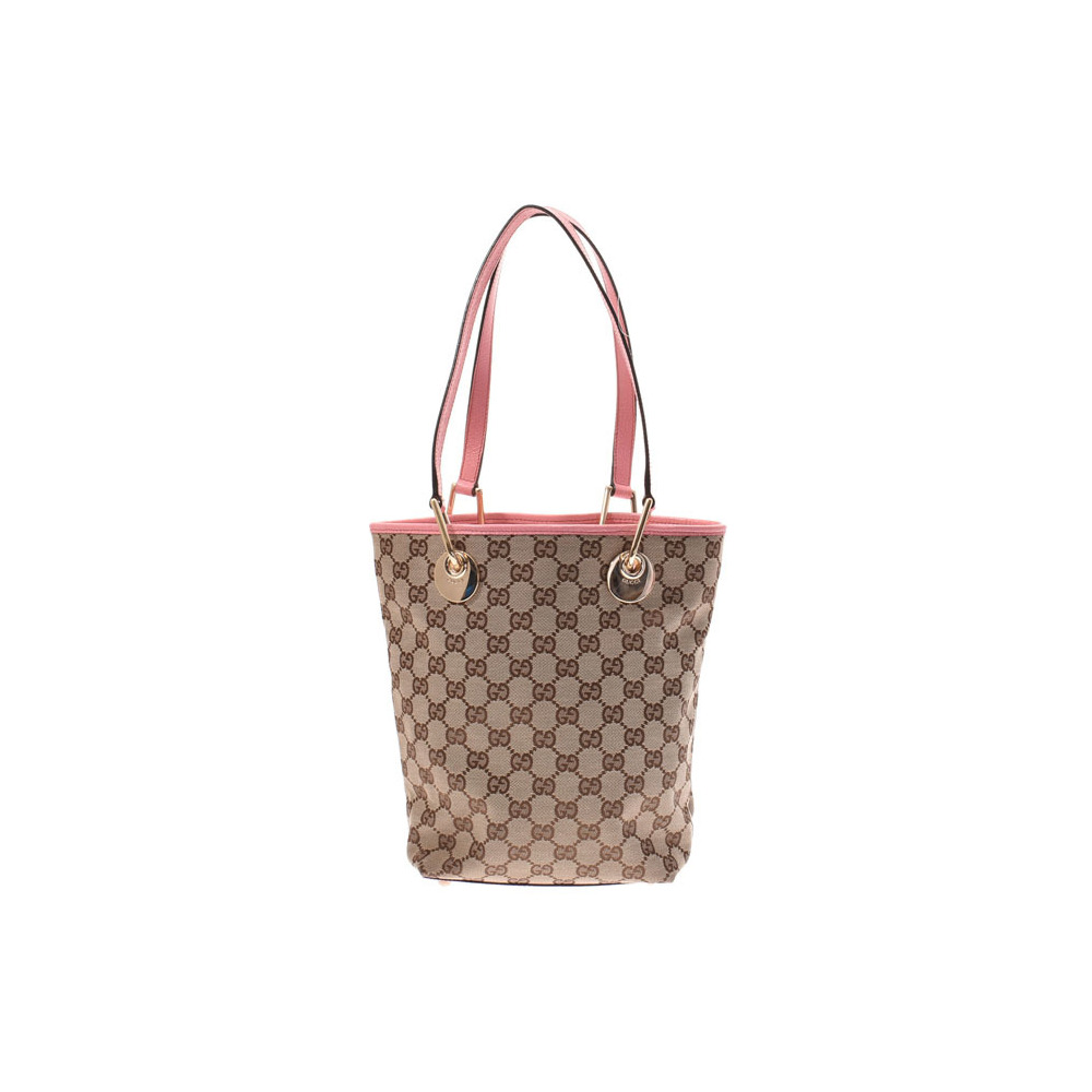 Gucci handbag beige type / pink ladies GG canvas leather AB rank GUCCI second hand silver storage