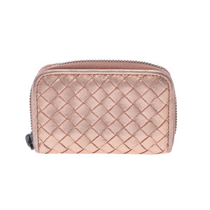 Bottega Veneta Interest Chart Coin Case Metallic Pink Women's Leather Purifier AB Rank BOTTEGA VENETA Used Ginza
