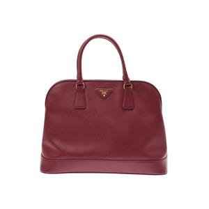 Prada 2WAY handbag Bordeaux type ladies' safiano B rank PRADA strap attaching second hand silver storage