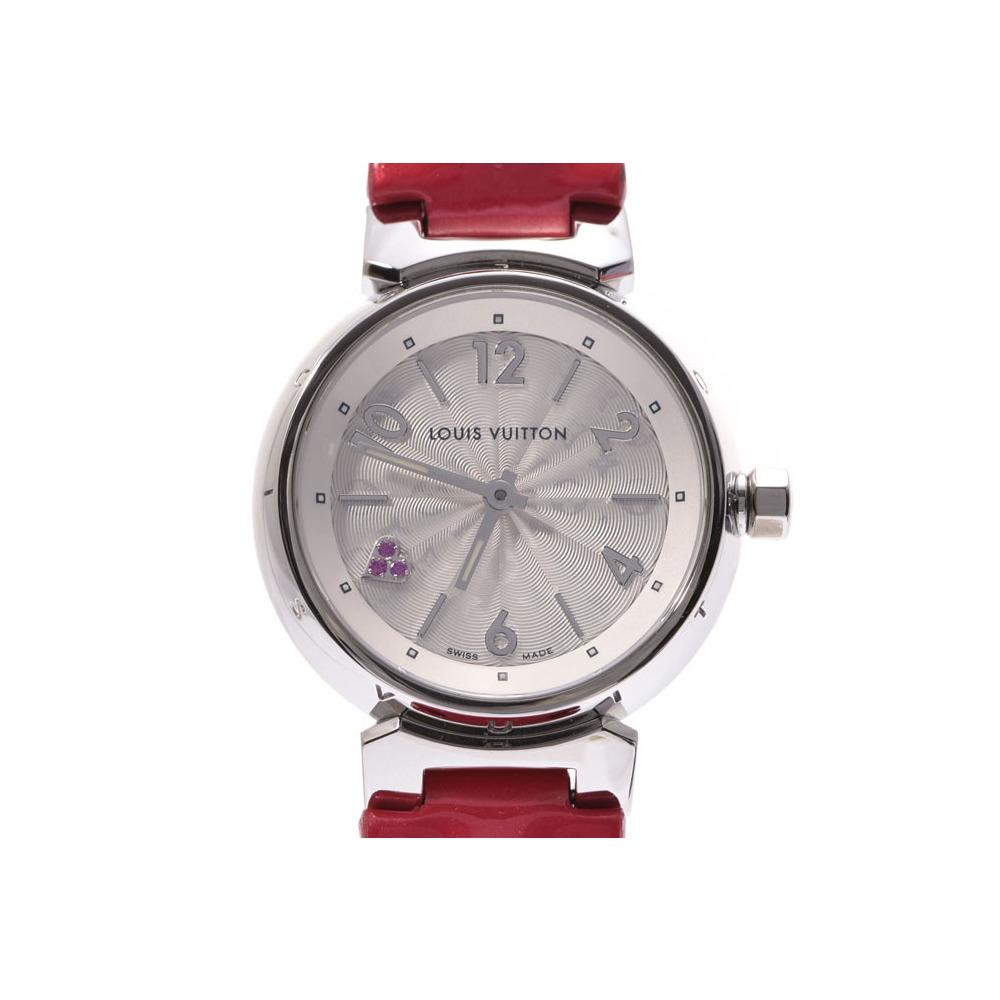 Louis Vuitton Tambour silver dial Q1218 ladies' SS / leather quartz wristwatch A rank beautiful goods LOUIS VUITTON used second hand store