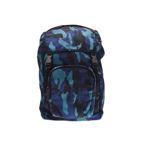 Prada Backpack Blue Camouflage Pattern V135 Men's Women's Nylon New PRADA Used Ginza