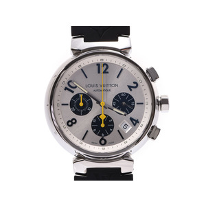 Louis Vuitton Tambour Chronograph Silver Dial Q112E Mens SS / Rubber Automatic Watch A Rank Beautiful Item LOUIS VUITTON Used Ginza