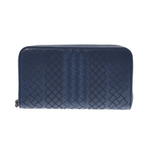Bottega Veneta Round Zipper Long Wallet Intorechat Blue Men's Women's Calf AB Rank BOTTEGA VENETA Box Used Ginza