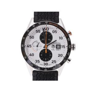 タグホイヤー カレラ クロノ マクラーレン 40thLIMITED 白文字盤 CAR2A12.FT6033 メンズ SS/ラバー 自動巻 腕時計 Aランク 美品 TAG Heuer 中古 銀蔵