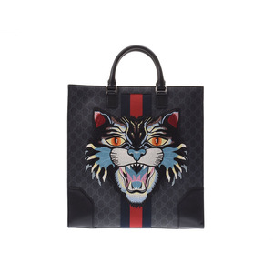 Gucci Angry Cat 2 Way Tote Bag GG Pattern Black Men's PVC / Leather AB Rank GUCCI Used Ginza
