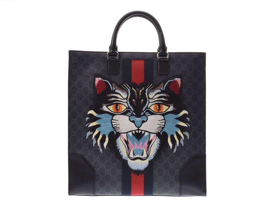 32e5396945d Authentic Gucci Angry Cat 2 Way Tote Bag GG Pattern Black Men s  800000073907000