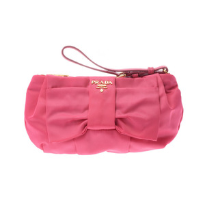 Prada Accessory Pouch Ribbon Type Pink 1N1422 Ladies Nylon A Rank PRADA Galler Used Ginza