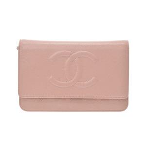 シャネル(Chanel) シャネル チェーンウォレット サーモンピンク SV金具 レディース キャビアスキン 財布 Aランク 美品 CHANEL 箱 ギャラ 中古 銀蔵