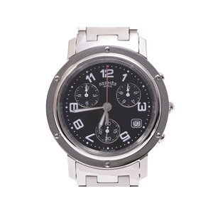 HERMES CLIPPER CHRONO BLACK LETTER CL1.910 Men's SS quartz wristwatch A rank 美 品 second hand silver storage