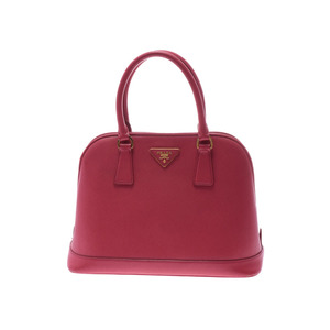 Prada handbag pink type BN 2567 Ladies' safiano B rank PRADA Galler strap attaching second hand silver storage