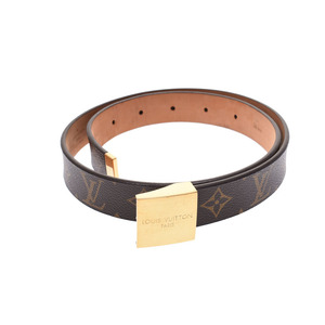 Louis Vuitton Monogram Saint Turre Carre 80 cm GP Hardware Buckle Brown Men's Genuine Leather Belt B Rank LOUIS VUITTON Used Ginza