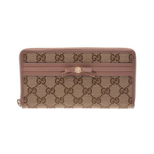 Gucci May Fair Round Zipper Long Purse Beige / Pink Ladies GG Canvas Leather Shiny the same Beauty Item GUCCI Box Used Ginza