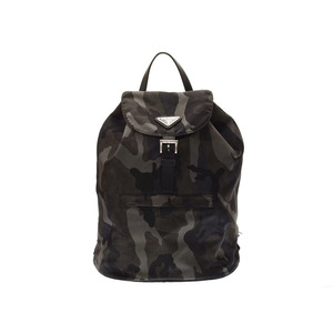 Prada Backpack Khaki / Black Camouflage Pattern BZ0032 Men's Women's Nylon A Rank PRADA Gala Used Ginza