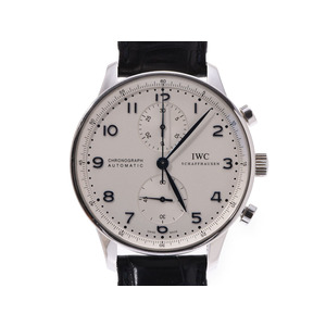 IWC Portuguese Chrono Silver dial face IW 371446 Mens SS / leather automatic winding wristwatch A rank Galla secondhand silver stock