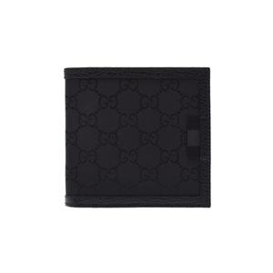 Gucci two fold wallet black men's nylon / leather unused GUCCI box second hand silver storage