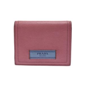 Prada 2 fold wallet Pink / light blue series 1 MV 204 Women's calf B rank PRADA GALA second hand silver storage