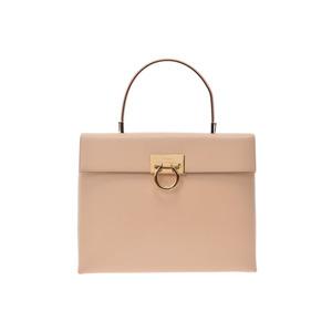 Salvatore Ferragamo Ferragamo Gantini Handbag Beige Women's Leather AB Rank FERRAGAMO Used Ginza