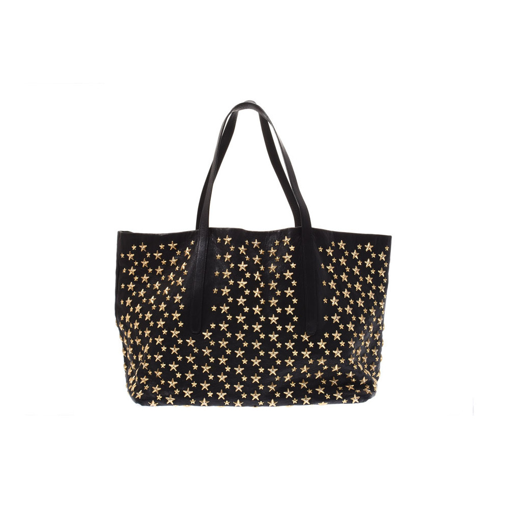 Jimmy Chou Sasha Tote Bag Black GP Hardware Gold Star Studs Men's Women's Calf B Rank JIMMY CHOO Used Ginza