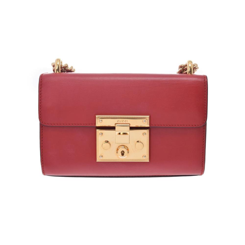 5e6d927e0c847c Gucci Padlock chain shoulder bag red G fittings ladies' calf B rank GUCCI  second hand silver storage