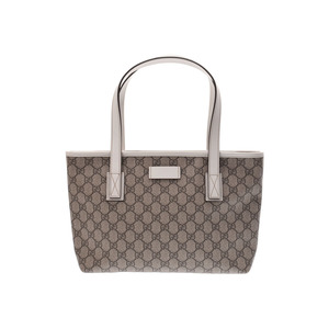 Gucci tote bag GG pattern gray type / white ladies PVC A rank GUCCI second hand silver storage