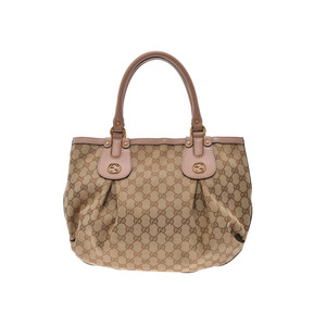 Gucci Scarlet handbag beige ladies GG canvas AB rank GUCCI second hand silver storage