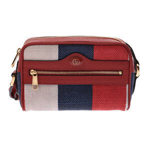 Gucci offia sherry shoulder bag red ladies canvas / leather A rank beautiful goods GUCCI secondhand silver storage