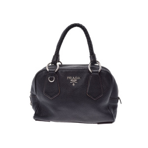 Prada mini Boston bag black ladies calf B rank PRADA second hand silver storage