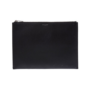 Saint-Laurent clutch bag black men's ladies calf AB rank SAINT LAURENT second hand silver storage