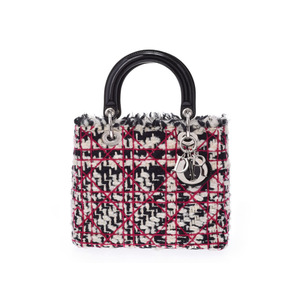 Dior Lady White / Black Fuchsia Pink SV Hardware Women's Tweed Enamel 2 Way Handbag A Rank beautiful item CHRISTIAN DIOR Used Ginza